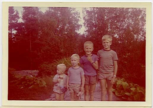 Rune, Arne, Gunnar and Bengt in our country home back in 1965, probably July 19th